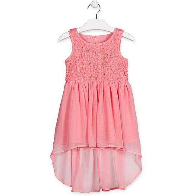 Losan Little Girls Fancy Summer Sleeveless Dress Hi Lo Hem