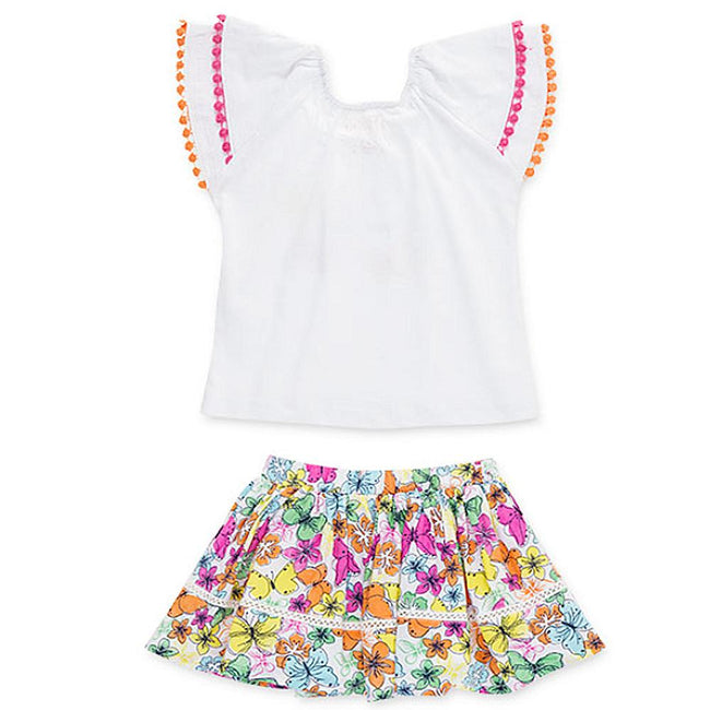 Losan Little Girls White Top with Butterfly Graphic Top and Butterfly Skirt