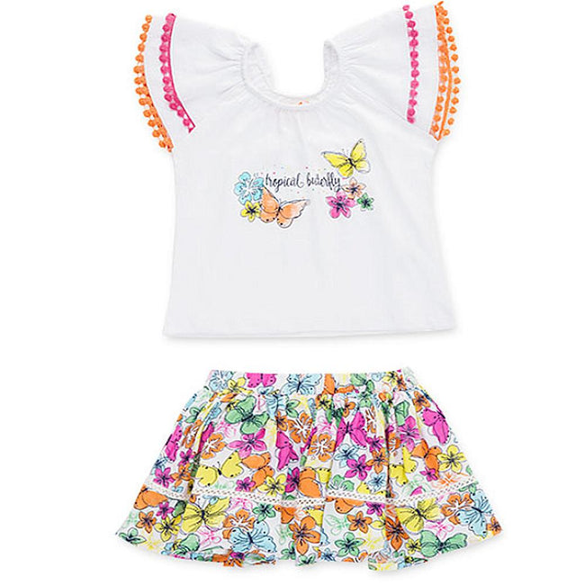 Losan Little Girls 2 Piece White Top and Butterfly Print Skirt