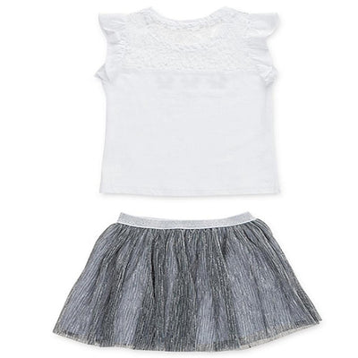 Losan Little Girl White Jersey Top Butterfly Graphic Silver Tulle Skirt
