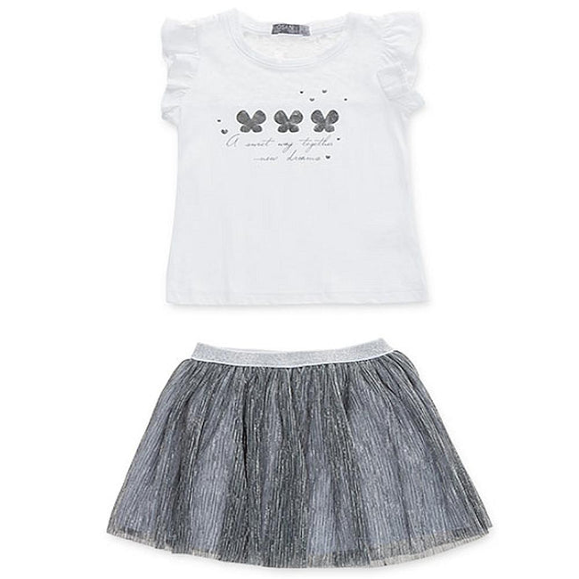 Losan Little Girls 2 Piece White and Silver Lurex Top and Skirt