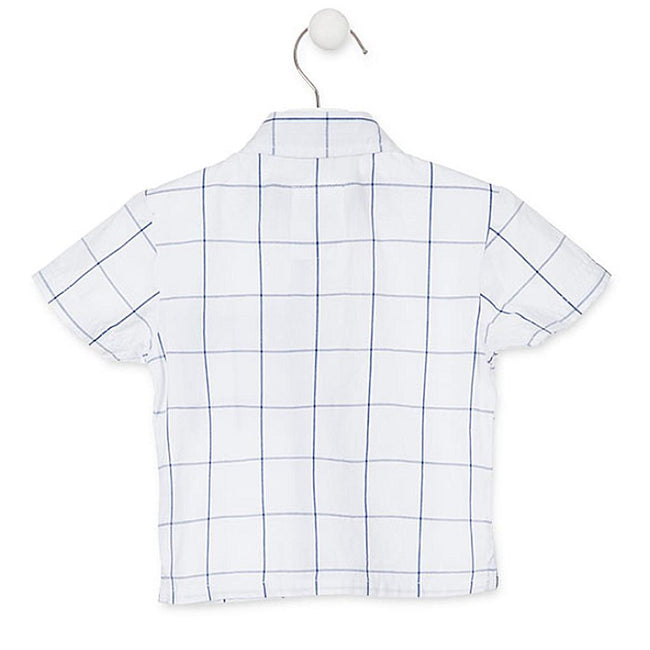 Losan Infant Boy White Blue Checked Shirt