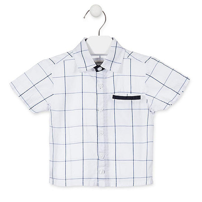 Losan Baby Boy White Blue Short Sleeve Plaid Shirt