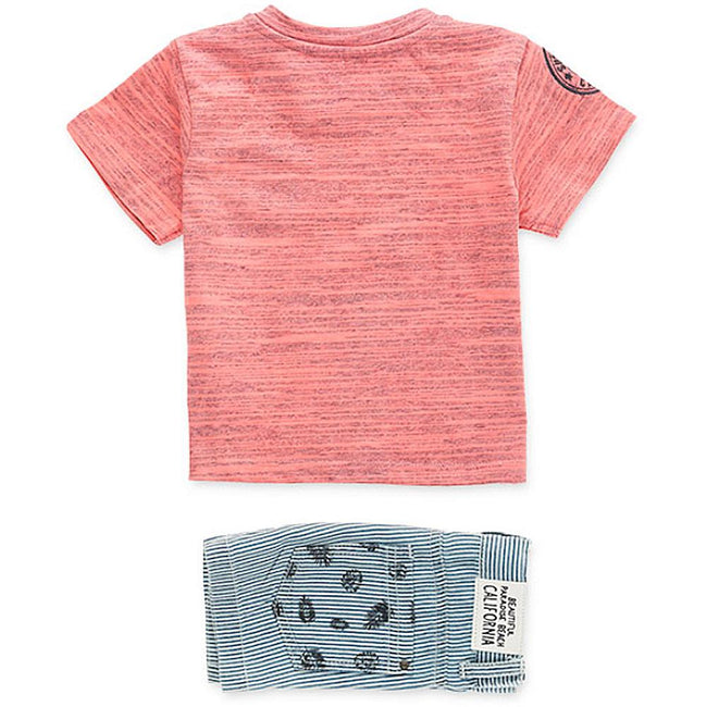 Losan Infant Boy 2 Piece Striped Denim Shorts Pocket Tee Shirt