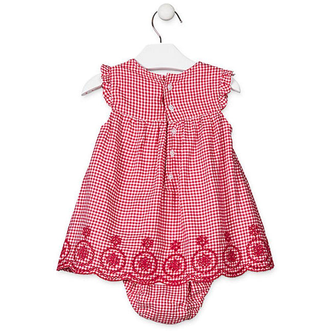 Losan Infant Baby Girl Red Checkered Short Sleeve Dress with Knickers
