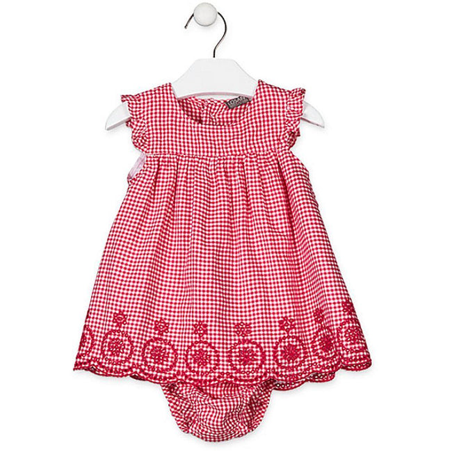 Losan Infant Baby Girls Summer Red Checkered Dress with Knickers 9M 12M