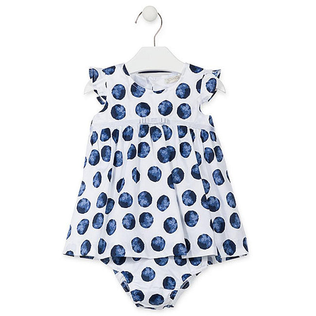 Losan Baby Girls Sleeveless Voile Dress Blue Polka Dots Knickers