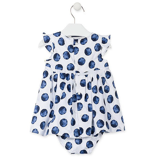 Losan Baby Girl White Dress with Blue Polka Dots Knickers