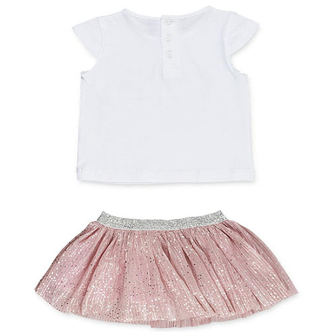 Losan Infant Girl Jersey Short Sleeve White Top Pink Silver Dots Skirt
