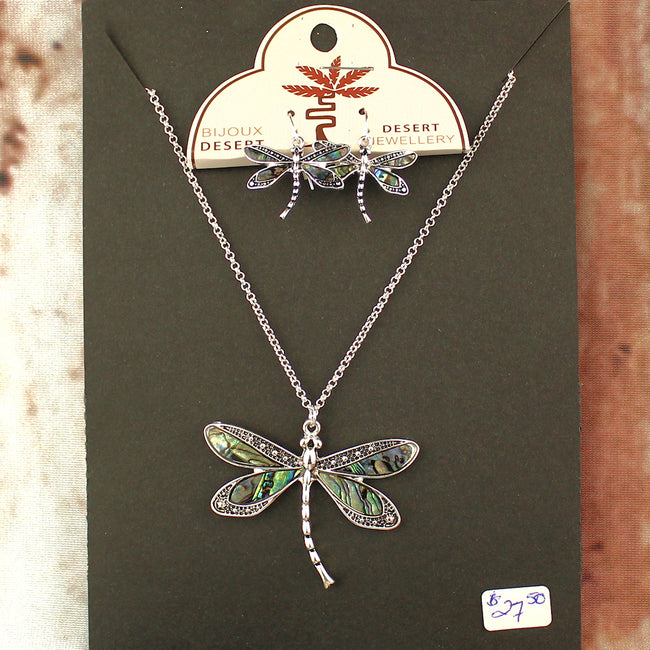 Abalone Dragonfly Necklace and Earring Set