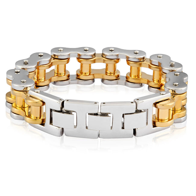 GOLD PLATED TWO-TONE STAINLESS STEEL POLISHED BICYCLE CHAIN BRACELET