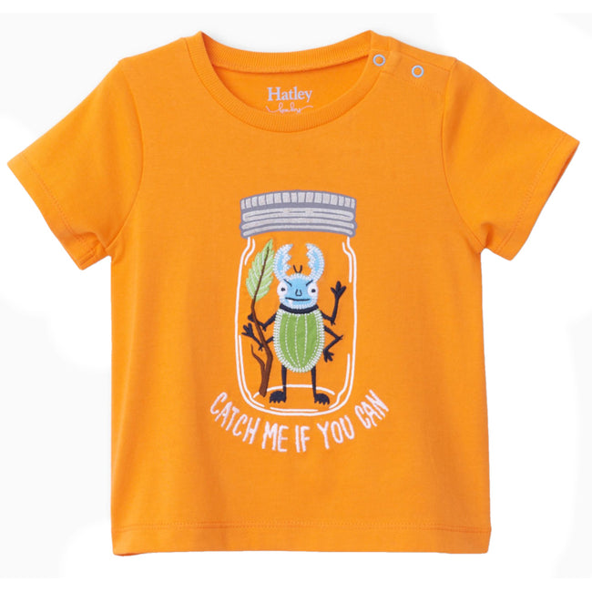 Hatley Baby Boy Bug in a jar orange tee front