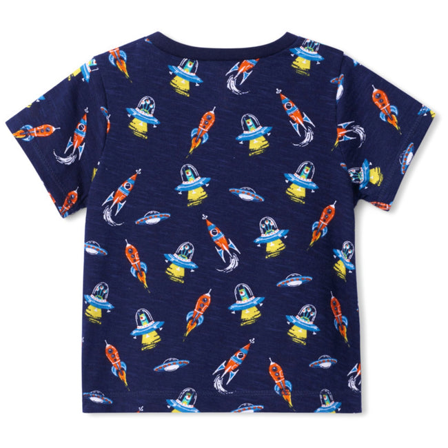 HATLEY Baby Boy Navy Retro Rockets Tee