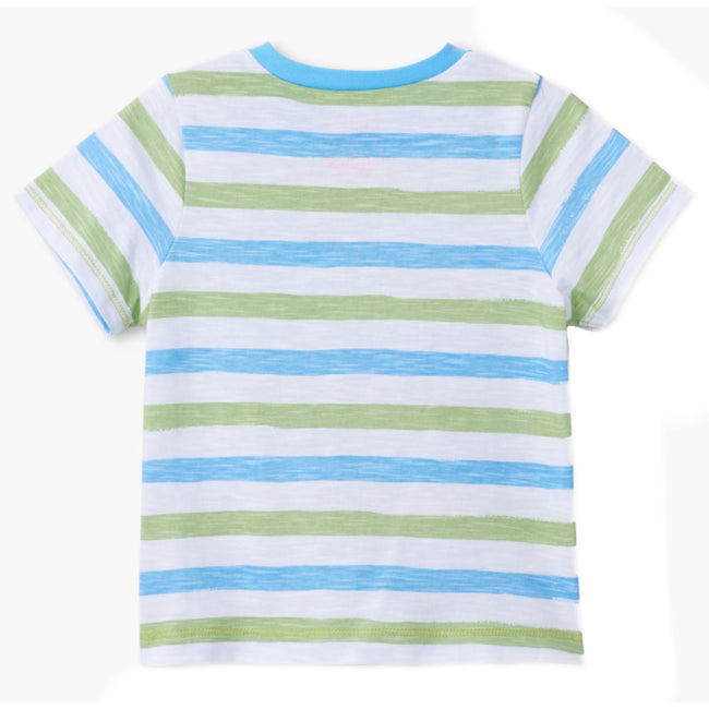 Hatley Little Boys White Tee Green and Blue Horizontal Stripes Back