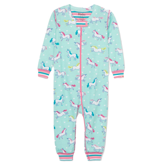Hatley Baby Girl Prancing Unicorn Organic Cotton Coverall Front