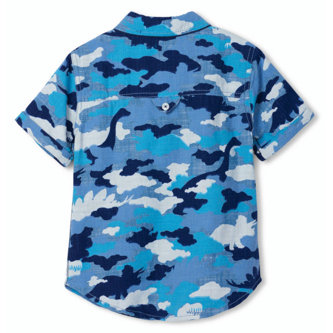 Hatley Little Boy Blue Camo Dinos Button Front Shirt Back