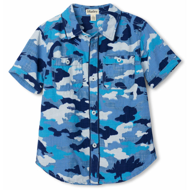 Hatley Little Boy Blue Camo Dinos Button Front Shirt Front