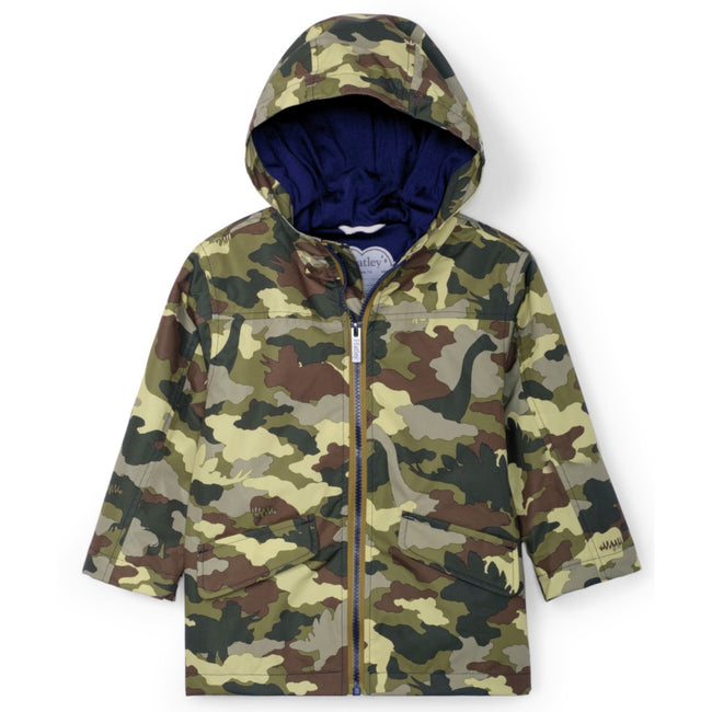 HATLEY Little Boy Dino Camo Hooded Rain Jacket Front