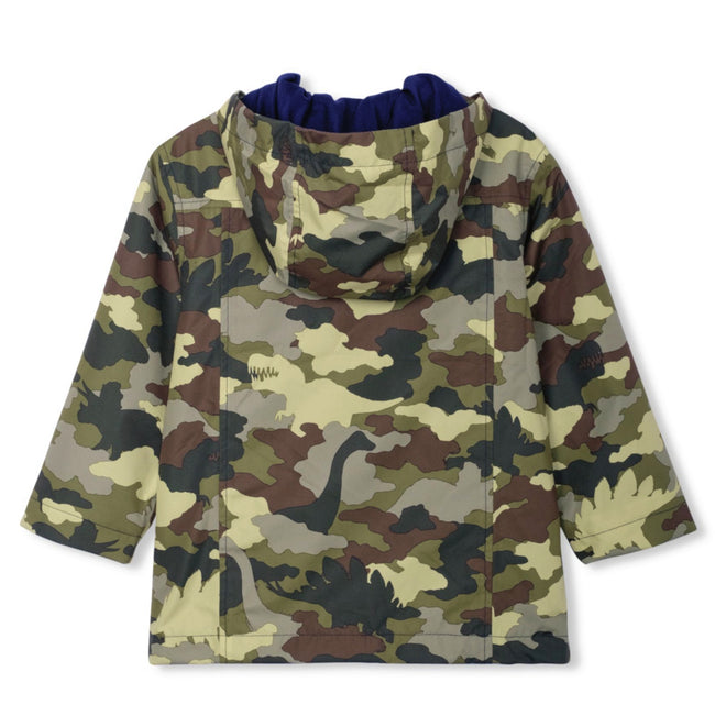 HATLEY Little Boy Dino Camo Hooded Rain Jacket Back