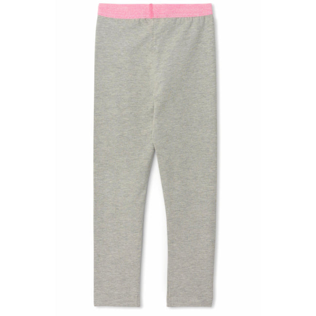 Hatley Little Girl Grey Leggings with Pink Glitter Waistband Back