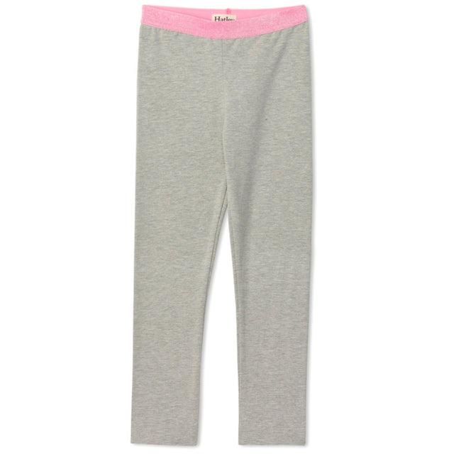 Hatley Little Girl Grey Leggings with Pink Glitter Waistband Front