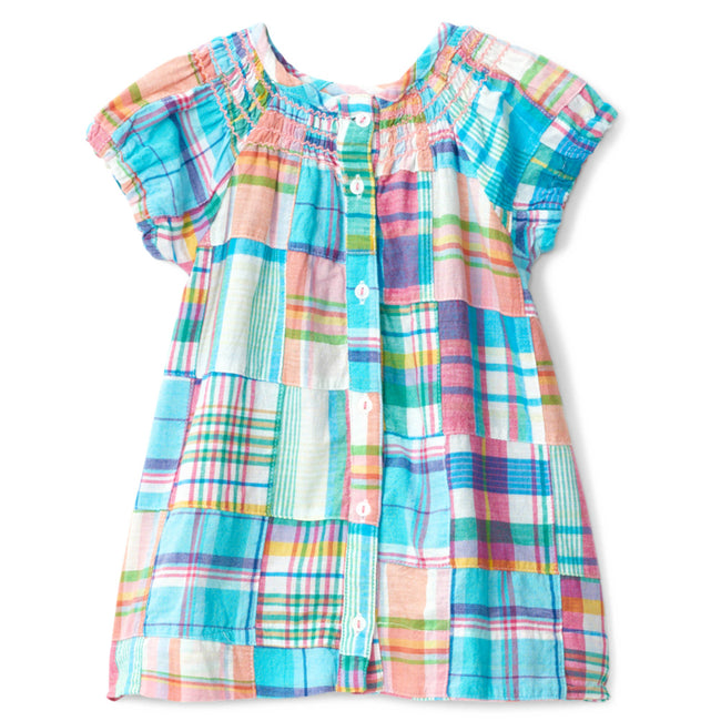 Hatley Little Girl Madras Plaid Smocked Dress Back