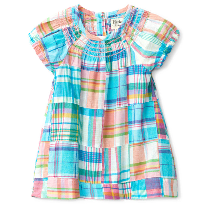 Hatley Little Girl Madras Plaid Smocked Dress Front