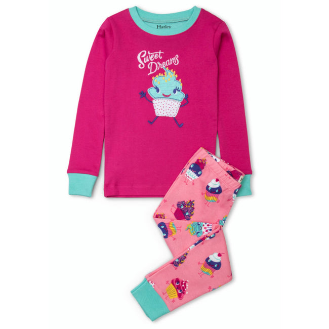 Hatley Little Girl Sweet Dreams Dancing Cupcakes 2 Pc Pajama Set