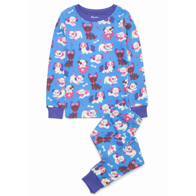 HATLEY Little Girl Organic Cotton Pajama Set with Puppy Love Print