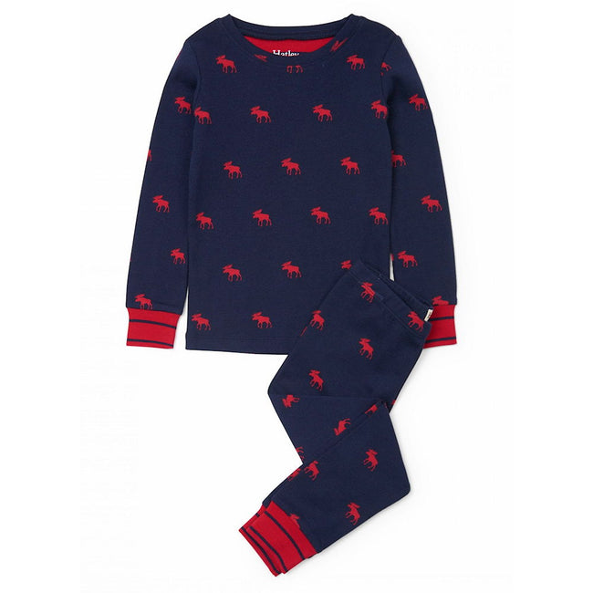 HATLEY Little Boy Organic Cotton Red Moose 2 Piece Pajama