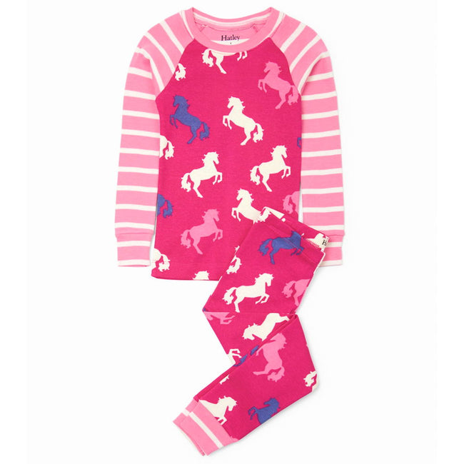 HATLEY Little Girl Organic Cotton Playful Horses 2 Piece Pajama Set