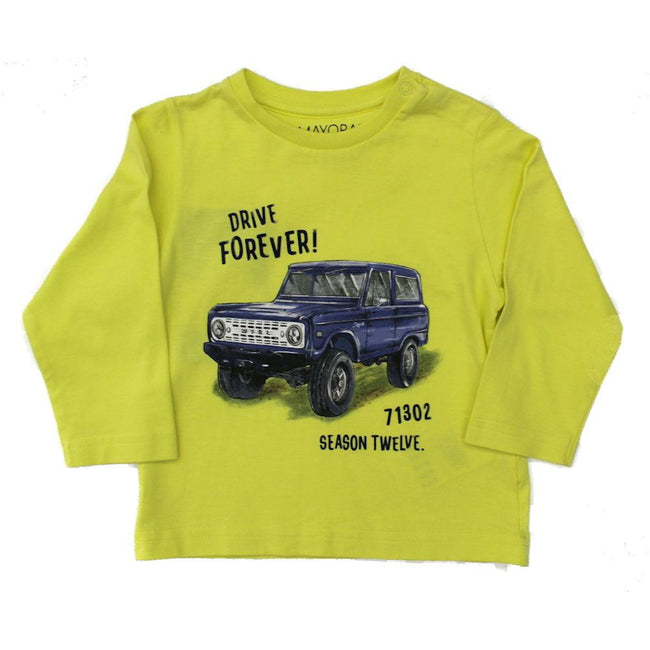 Mayoral Baby Boy Neon Yellow Jeep Long Sleeve Tee