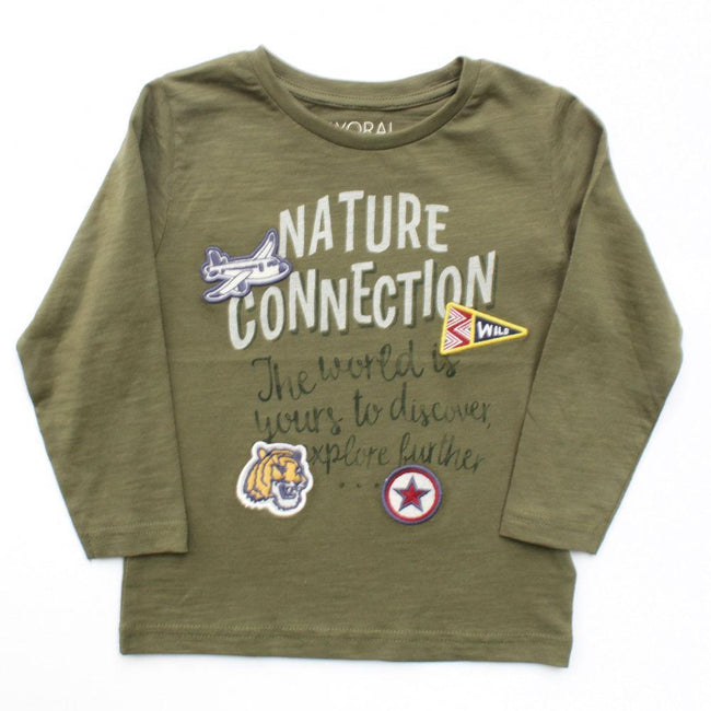 Mayoral Little Boy Long Sleeve Green Graphic Tee