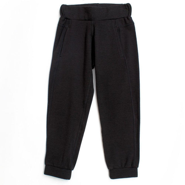 Little Girl Black Cuffed Joggers  (Sz 4)