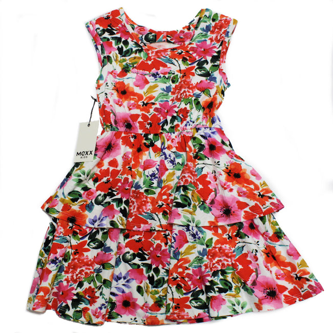 MEXX Girls Sleeveless Floral Ruffle Dress Back