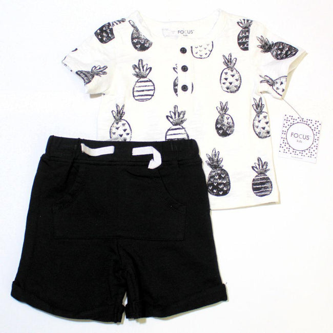 LITTLE ME Baby Boy Pineapples 2 Pc Short Set