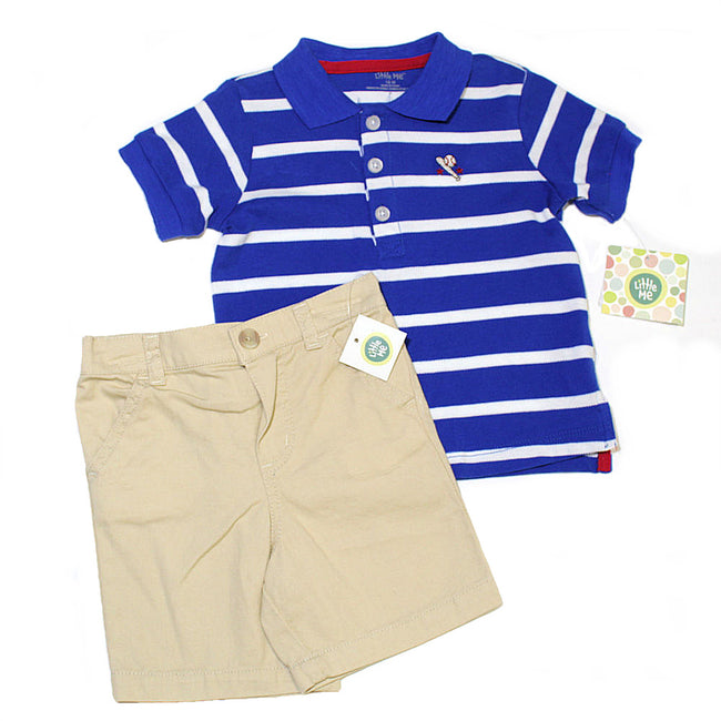 LITTLE ME Baby Boy 2 Pc Baseball Short Set