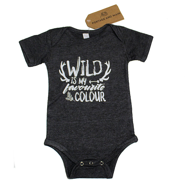 "PORTAGE & MAIN Baby Boy Onesie ""Wild is My Favorite Colour"""