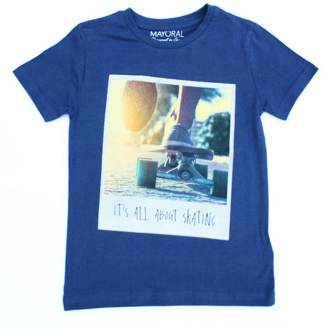 MAYORAL Little Boy Royal Blue Short Sleeve Graphic Tee (Sz 6)