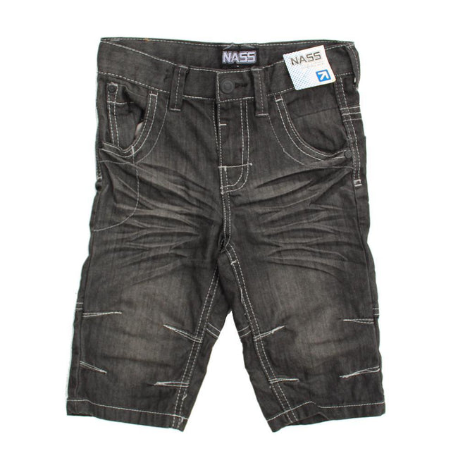 NASS Little Boy Grey Bermuda Denim Shorts Front