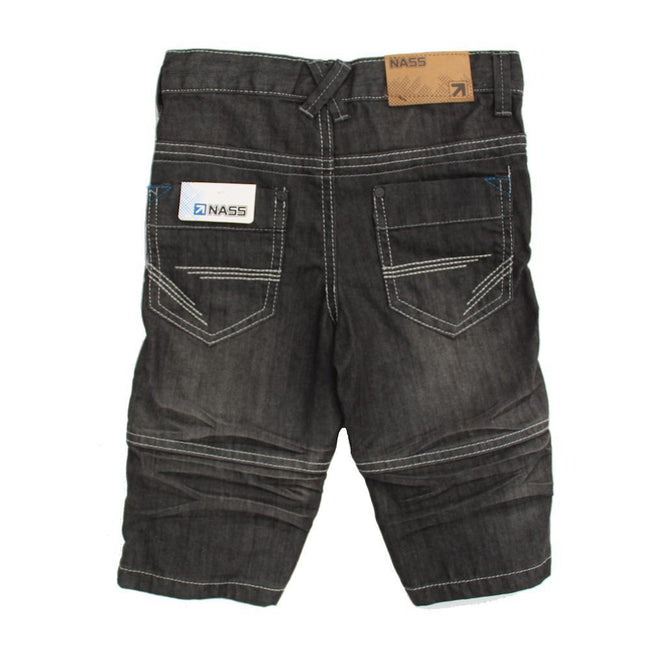 NASS Little Boy Grey Bermuda Denim Shorts Back