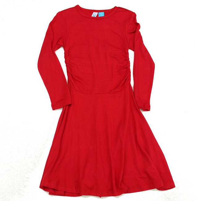 BLUBYBLU Big Girl Preteen Girls Red Long Sleeve Jersey Dress