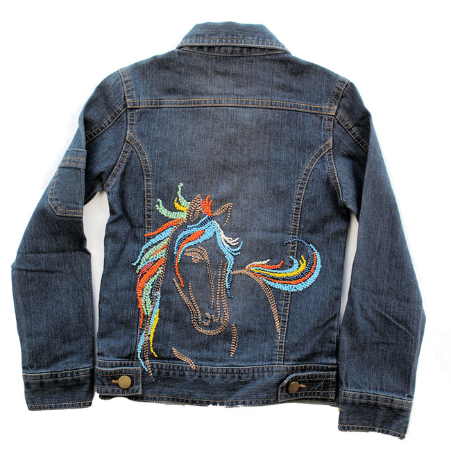 LIMEAPPLE Little Girl Beaded Horse Jean Jacket
