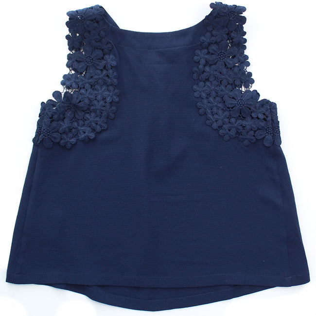 MINI MOLLY Big Girl Navy Flower Lace Top