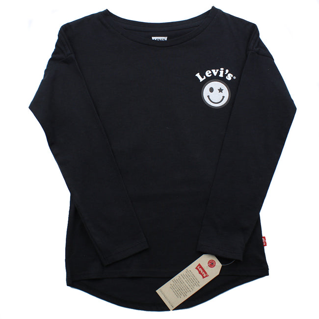 LEVI'S KIDS Little Girl Black Silver Emoji Long Sleeve Tee Shirt