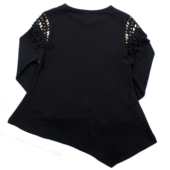 LIMEAPPLE Big   Girl Long Sleeve Fringe Tee