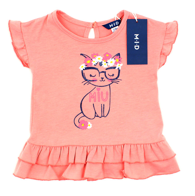 M-I-D Baby Girl Pink Cat Short Sleeve T-Shirt Front