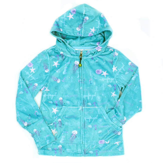 LIMEAPPLE Little and Teen Girl Turquoise Ocean Print Minky Jacket