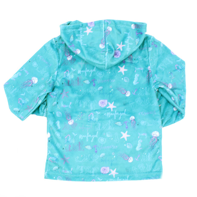 LIMEAPPLE Big Girl Turquoise Ocean Print Minky Jacket
