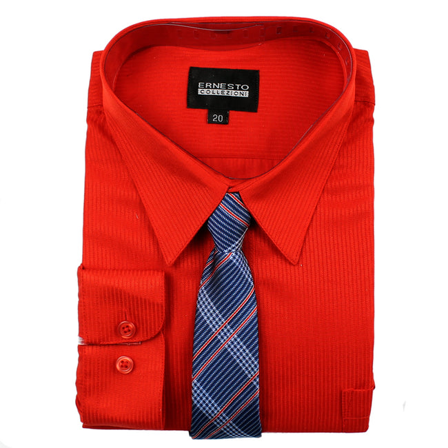 ERNESTO Youth Tween Boys Red Long Sleeve Shirt with Matching Tie
